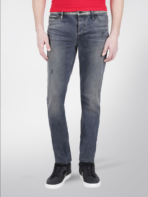 CALVIN KLEIN GREY HAZE SLIM STRAIGHT JEANS