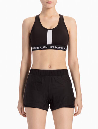 CALVIN KLEIN DUAL-TONED RACERBACK BRA TOP WITH MID PANEL