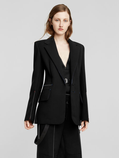 CALVIN KLEIN SILK WOOL DRAPE SINGLE BREASTED SUIT JACKET