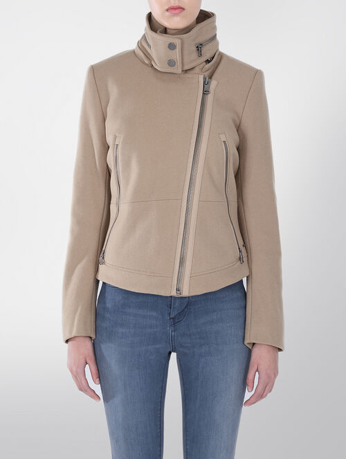 CALVIN KLEIN APRIL WOOL BIKER JACKET