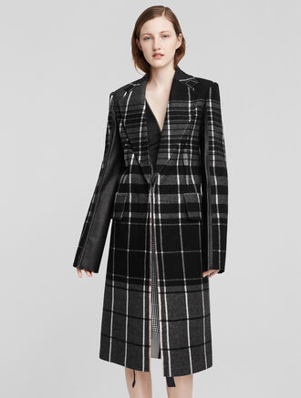 CALVIN KLEIN WOOL MIXED PLAID + FLEECE COAT