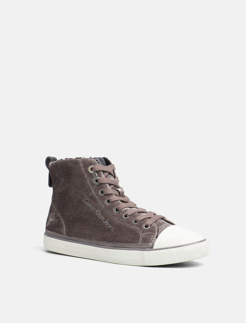 CALVIN KLEIN VELVET HIGH-TOP SNEAKERS