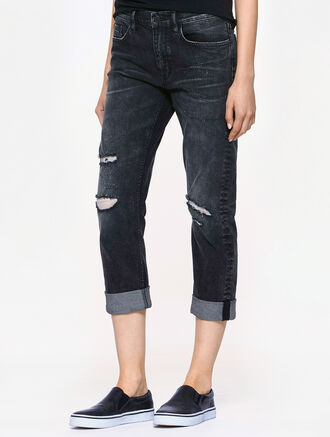 CALVIN KLEIN DEST CHARCOAL WASH SLIM BOYFRIEND FIT JEANS