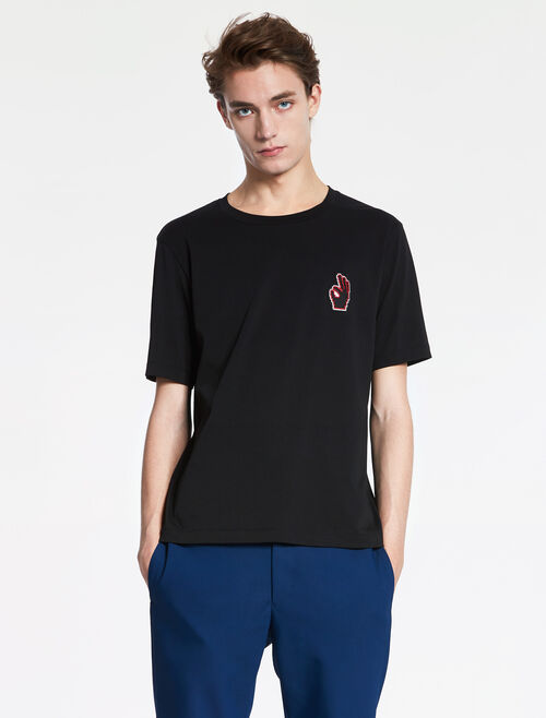 "CALVIN KLEIN PIMA COTTON JERSEY Short Sleeves TEE WITH ""OK"" BADGE"