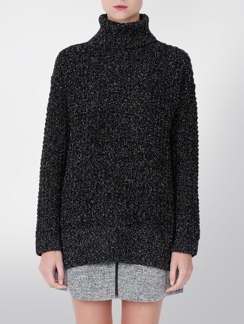 CALVIN KLEIN CORAL TWO-TONE WOOL SWEATER