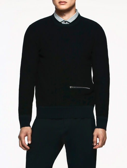 CALVIN KLEIN FELTED MERINO LONG SLEEVES TOP WITH DOUBLE NECK