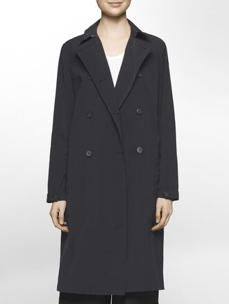 CALVIN KLEIN REFINED POLY NYLON LONG COAT