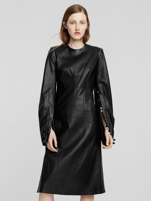 CALVIN KLEIN LEATHER LONG SLEEVE DRESS
