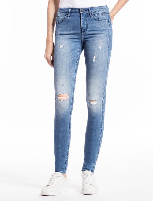 CALVIN KLEIN SCULPTED SKINNY LINGER MID Distressed JEANS