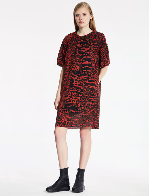 CALVIN KLEIN MODERN LEOPARD PRINT DRESS - FULLY LINED