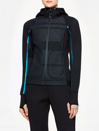CALVIN KLEIN TWO TONE JACQUARD HOOD SWEAT JACKET