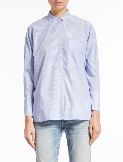CALVIN KLEIN WIVA OVERSIZED SHIRT WITH PINSTRIPES