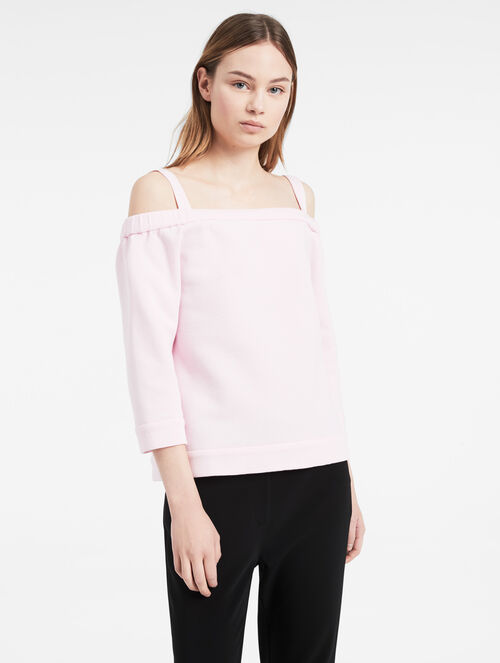 CALVIN KLEIN AIRY DOUBLE KNIT OFF-SHOULDER TOP