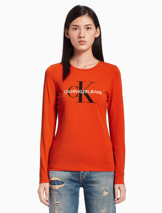 CALVIN KLEIN モノグラムロゴ ロングスリーブ T シャツ