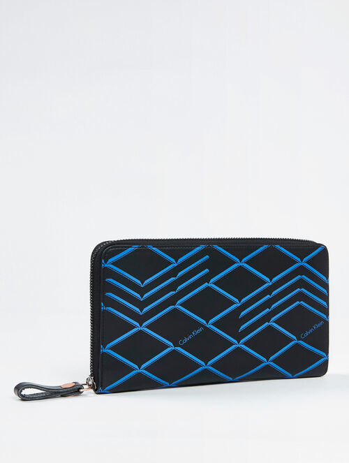 CALVIN KLEIN CITY GRID ZIP AROUND TRAVEL CASE