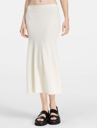 CALVIN KLEIN RIBBED CASHMERE FLARED SKIRT