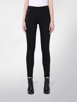 CALVIN KLEIN HIGH RISE SKINNY JEANS - POP BLACK