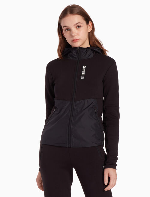 CALVIN KLEIN DOUBLE FACE SWEAT JACKET WITH HOOD