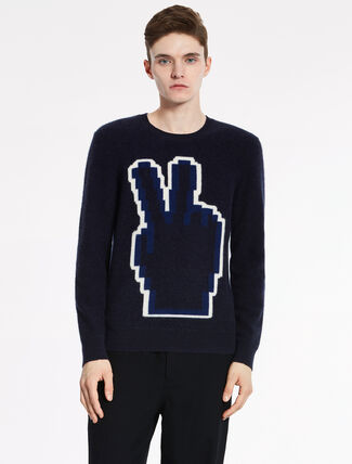 """CALVIN KLEIN SUPERSOFT BOILED CASHMERE Long Sleeves """"PEACE"""" TOP"""