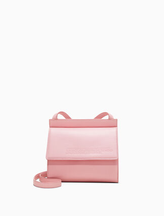 CALVIN KLEIN Embossed Flap Crossbody Bag In Calf Leather