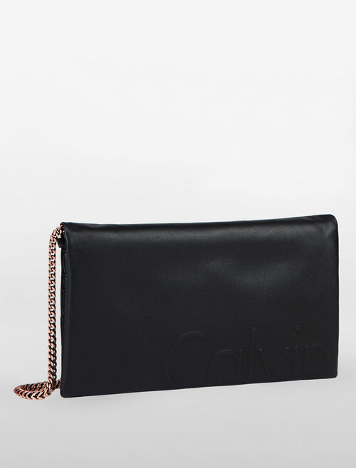 CALVIN KLEIN LOGO DEBOSS COCKTAIL WALLET WITH CHAIN