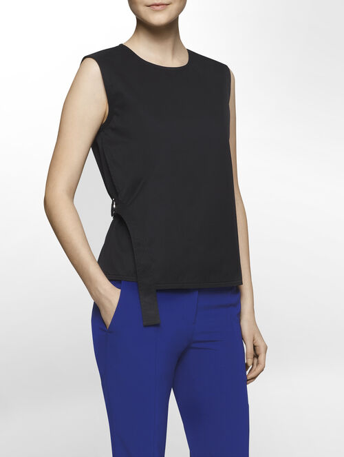 CALVIN KLEIN SOAPY TWILL SLEEVELESS TOP WITH BELT