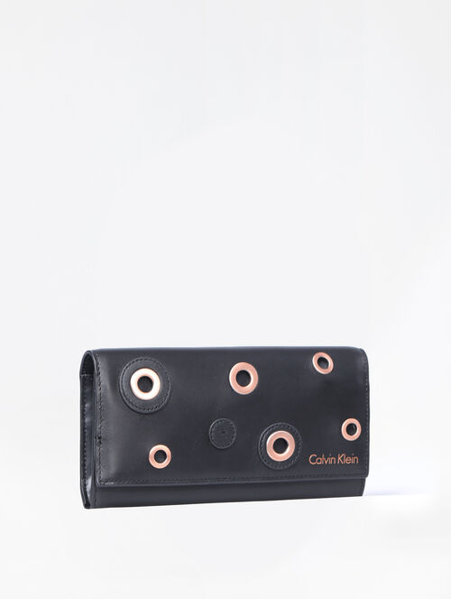 CALVIN KLEIN DISC EMBELLISHMENT LONG FOLD WALLET