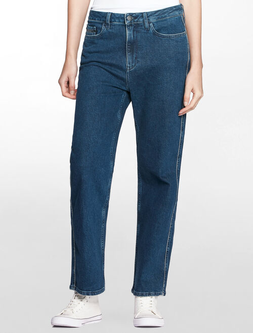 CALVIN KLEIN STRAIGHT TIPPED BLUE ANKLE JEANS