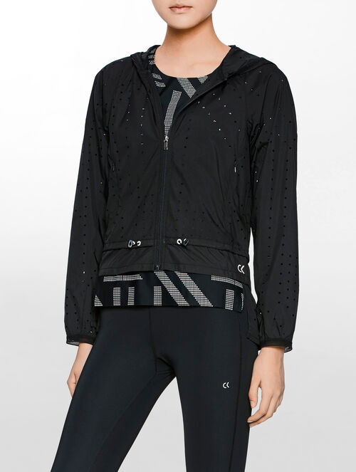 CALVIN KLEIN PERFORATED HOODED SHORT WIND LIGHT WEIGHT JACKET