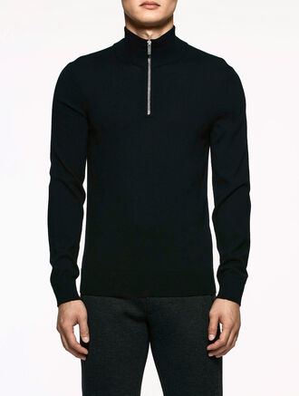CALVIN KLEIN EXTRAFINE WOOL LONG SLEEVES ZIP UP TOP