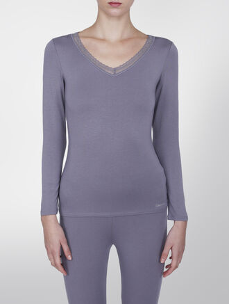 CALVIN KLEIN CALVIN KLEIN THRML LONG SLEEVE V-NECK WITH LACE