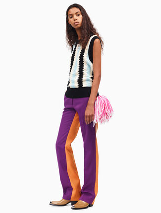 CALVIN KLEIN wool gabardine color block pants