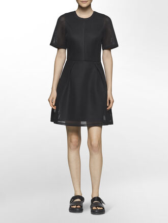 CALVIN KLEIN AIR SPACER MESH SHORT SLEEVES DRESS