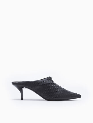 CALVIN KLEIN HOLE PUNCH HEELED MULES