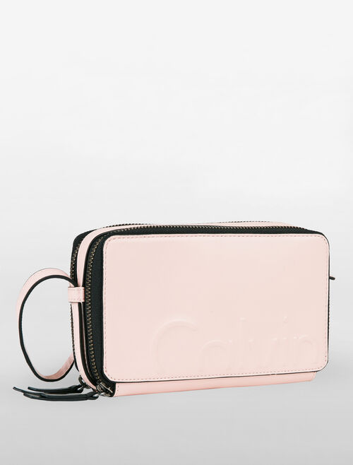 CALVIN KLEIN LOGO DEBOSS DOUBLE ZIP AROUND WALLET