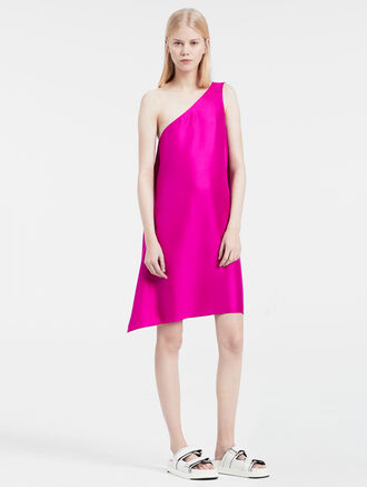 CALVIN KLEIN SILK TWILL ONE-SHOULDER DRESS