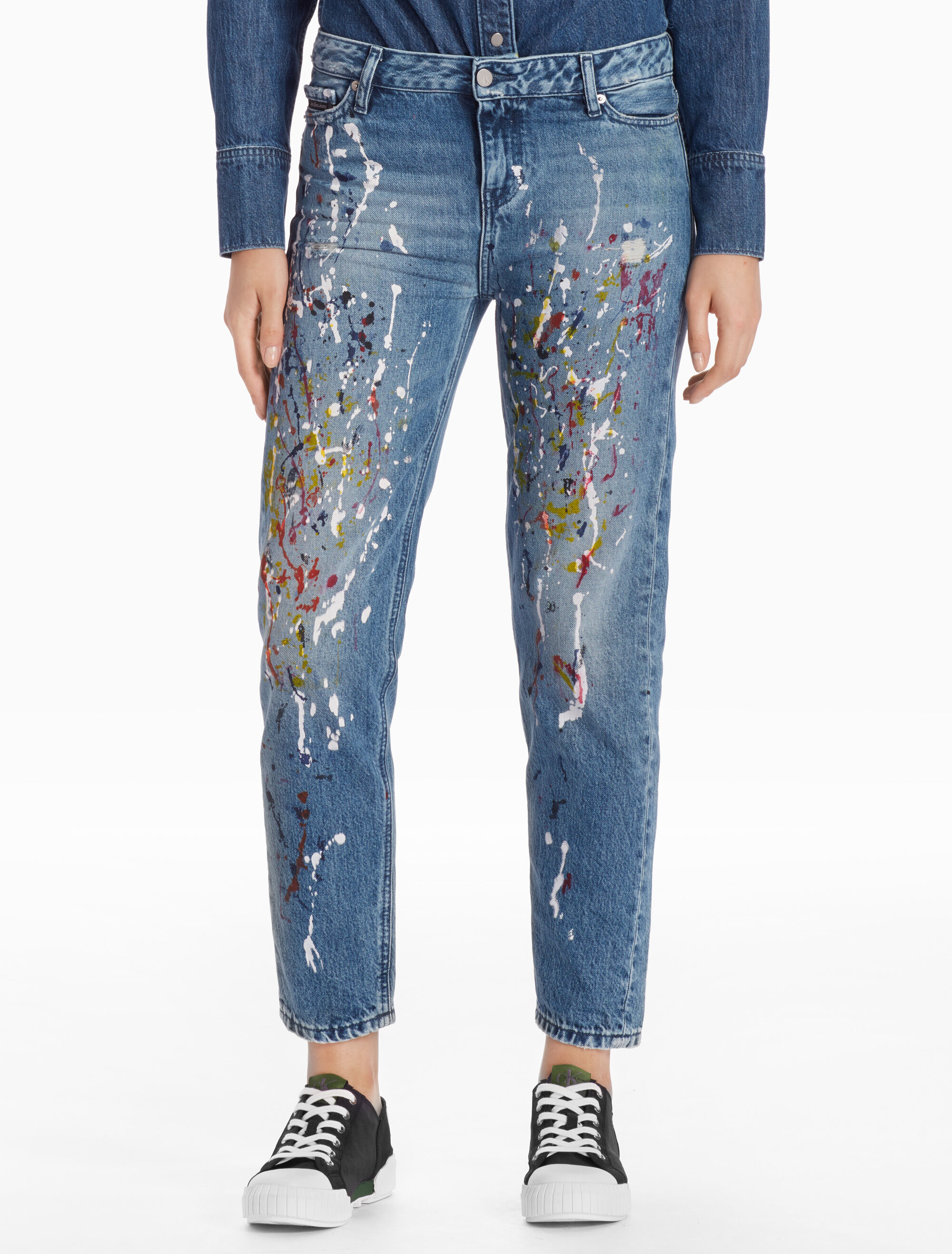 CALVIN KLEIN BLUE HIGH STRAIGHT JEANS WITH PAINT SPLATTER
