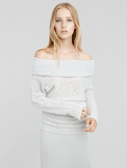 CALVIN KLEIN CASHMERE OFF THE SHOULDER DRAPED TUNIC