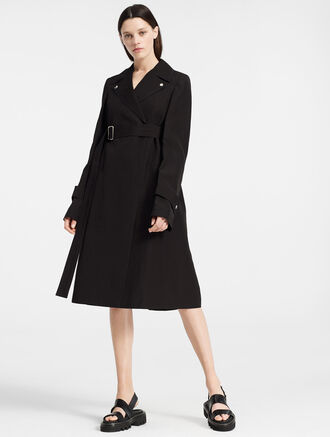 CALVIN KLEIN SILK PAPER FAILLE BELTED TRENCH COAT