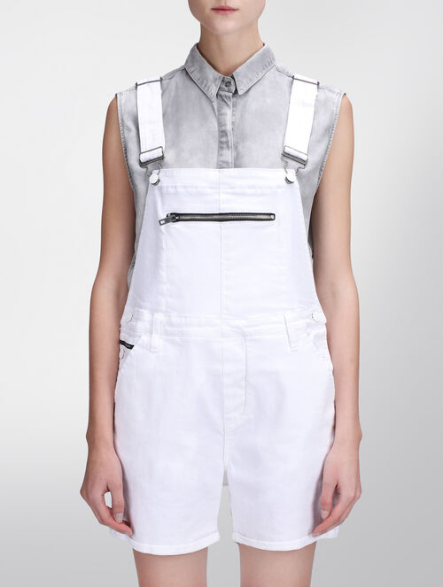 CALVIN KLEIN INFINITE WHITE DUNGAREE SHORT DRESS