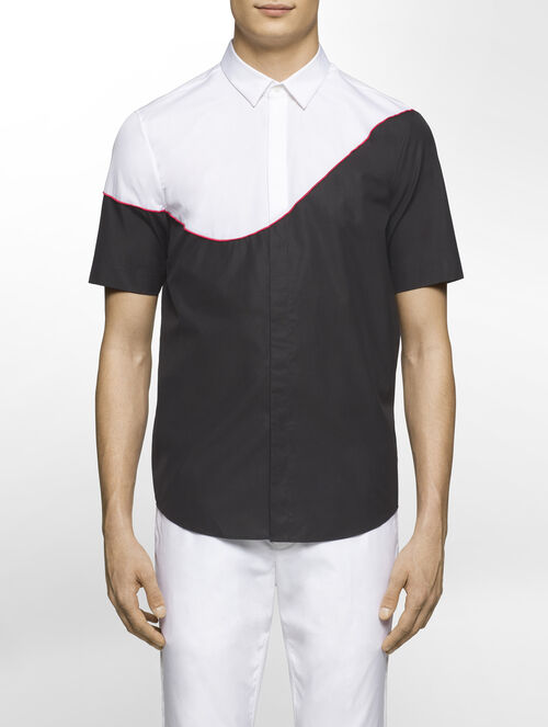 CALVIN KLEIN REFINED POPLIN COLOUR BLOCK SHORT SLEEVES SHIRT ( SEAN FIT )