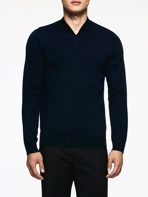 CALVIN KLEIN SUPERFINE MERINO WOOL LONG SLEEVES TOP