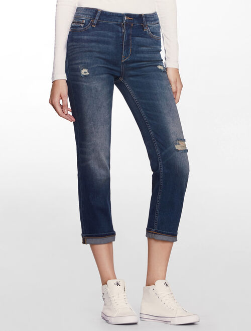 CALVIN KLEIN SHIELD BLUE HIGH RISE STRAIGHT CROPPED JEANS