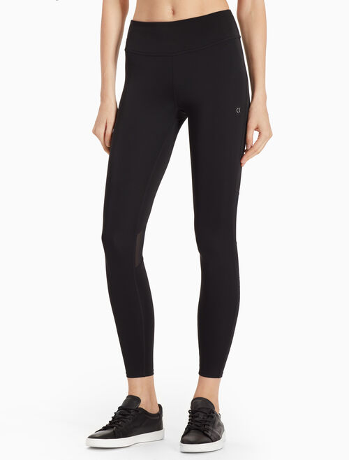 CALVIN KLEIN FULL LENGTH LOGO LEGGINGS WITH MESH INSERTS