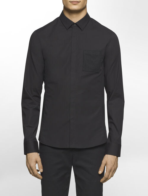 CALVIN KLEIN FINE STRETCH POPLIN LONG SLEEVES SHIRT WITH MESH TAPE( SID FIT )