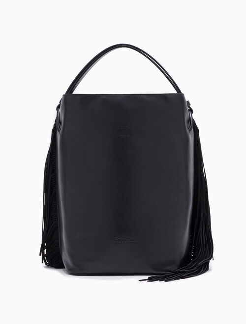 CALVIN KLEIN CINCHED BUCKET BAG WITH FRINGES