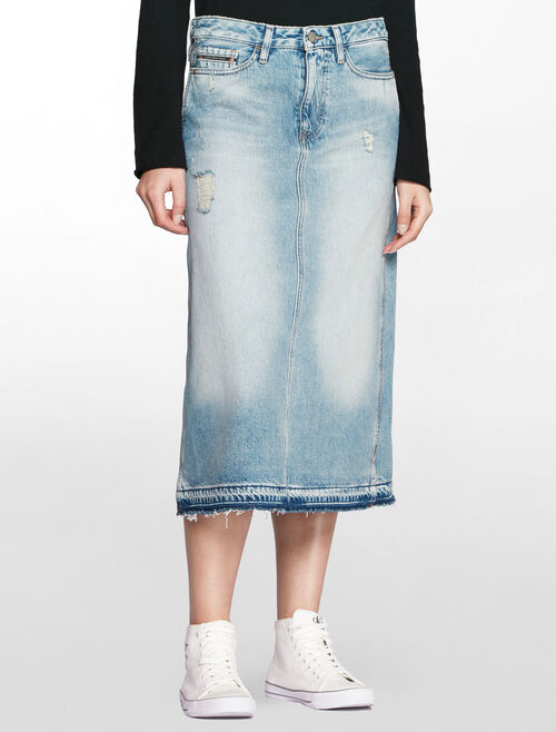 CALVIN KLEIN HIGH RISE ALINE DENIM SKIRT