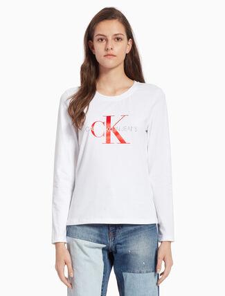 CALVIN KLEIN サテン モノグラムロゴ ロングスリーブ T シャツ
