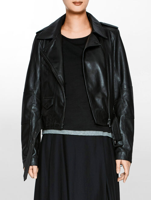 CALVIN KLEIN MADISON LEATHER BIKER JACKET