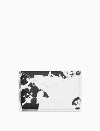 CALVIN KLEIN Flowers Small Card Case In Calf Leather